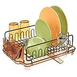 mDesign Juego de 2 escurridores de platos con bandeja de goteo – Rejilla...