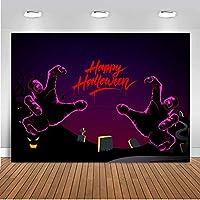 LELEZ 10×7フィート ハッピーハロウィン 写真背景 ゴーストの手 幽霊 墓地の背景 ポリエステルテーマ パーティー装飾 背景 スタジオ 写真ブース小道具 GEEV354