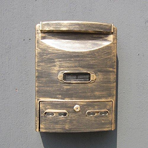 CKH Buzón impermeable al aire libre de oro antiguo buzón de sugerencias para colgar en la pared europeo al aire libre con cerradura