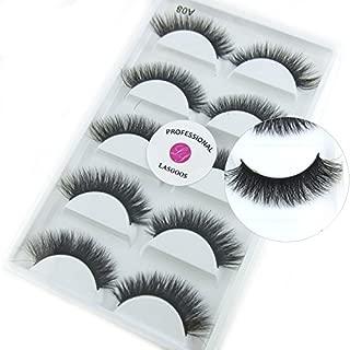 Luxurious 100% Siberian Mink Fur 3D False Eyelash LASGOOS Degisn Natural Messy Thick Fake Eyelashes 5 Pairs/Box (A08)