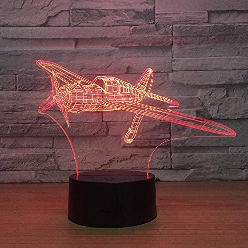 Lámpara de ilusión 3D Luz de noche LED Avión de hélice 7 colores para niños Lámpara de mesa USB táctil Sueño del bebé Los mejores regalos de vacaciones de cumpleaños para niños