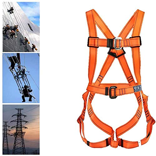 Safety Fall Arrest Kit, Full-Body Seat Belt, Adjustable Belt with Hook and Lanyard, D-Rings, for Aerial Lift Iron Worker Scaffolding Tower Carpenter