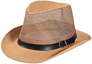 DUOLUO 中高年の夏の帽子の男性の帽子ジャズ帽子お父さん夏の日陰のリネン草クールな帽子古いネットキャップ