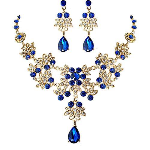 N/A. Elegante azul floral cristal nupcial joyería de compromiso, moda mujer matrimonio headwear collar pendientes declaración joyería conjunto regalos para amigos