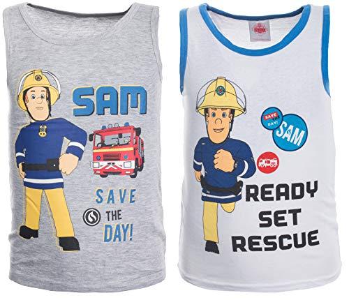 Brandsseller Jungen Unterhemden Shirts mit Motiven im Stil von Feuerwehrmann Sam 110/116-2er Set Hellgrau/Weiß