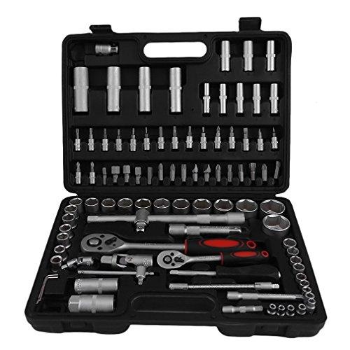 94 tlg Werkzeugkoffer Set, Haushalts Alu-Werkzeugkasten Steckschlüsselsatz Ratschenkasten Knarrenkasten Nusskasten Premium Universal Werkzeugkiste Werkzeug Werkzeugkoffer
