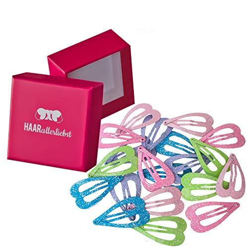 HAARallerliebst Haarspangen Herzen (20 Stück | Glitzer | 3,6cm) für Mädchen inkl. Schachtel zur Aufbewahrung (Schachtelfarbe: pink)