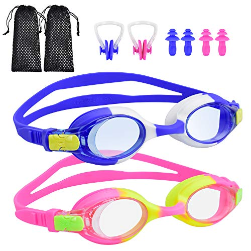 BROTOU Swim Goggles, Pack of 2 Kids Swimming Goggles No Leaking Anti Fog Swim Goggles for Children Boys Girls and Early Teens from 3 to 12 Years Old (Blue&Pink)
