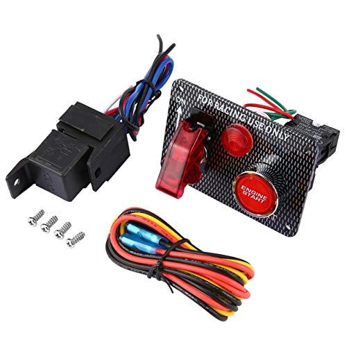 Kongqiabona-UK Coche de Carreras 12V Panel de Interruptor de Encendido Botón de Arranque del Motor Interruptor Profesional de 2 velocidades de Palanca LED para modificación del Coche