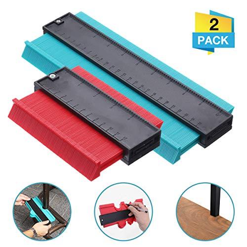 2 Packung Konturenlehre, Charminer Konturmesser, Duplikator Wickelrohre Holz Markierungswerkzeug Profil Kopierer mit Skala unregelmäßiges Konturmessgerät für präzise Messung (Rot+Blau)