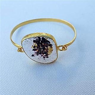 Progettato appositamente, Ottone placcato oro, Braccialetto di vetro macchiato pastello