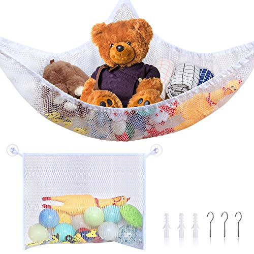 2 Pieces Toy Organizer Storage Net Kit, Toy Hammock Stuffed Animal Storage and Mesh Bath Toy Organizer Holder with Installation Tool, Bathtub Toy Mesh Net Storage Bag for Organizing Kids' Toys (White)