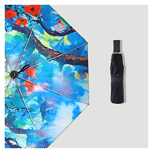 YXIUER Estilo chino de pintura al óleo paraguas dorado mujer y señora a prueba de viento sombrilla elegante paraguas plegable revestimiento negro (color: el color de la imagen)
