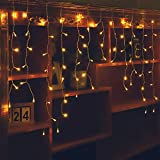 LED Icicle Lights, 96 LEDs 9.8ft 8 Modes, Curtain Fairy Light, LED String Light for Wedding/Christmas/Halloween/Thanksgiving/Easter/Party Backdrops Family Patio Lawn Decoration(Warm White)