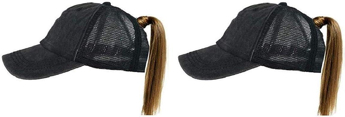Ezone Ponytail Baseball Hat Ponycap Adjustable Trucker Style Messy High Bun Cap Mesh Plain Cap Dad Hat for Women …