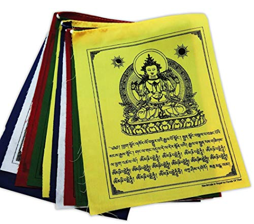 Hands Of Tibet Handmade Buddha of Compassion Prayer flags (6x8) Five Tibetan Traditional Colors which are Yellow, Green, red, White and Blue. Each Color Represents an Element