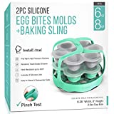 Egg Bite Molds Compatible With Instant Pot, Ninja Foodi and Pressure Cookers 5-Qt 6-Qt 8-Qt - 2 Pack Set Silicone Mold, Lid, and Silicon Sling - Mould For Egg-Bites, Sous Vide, Eggbite Muffin