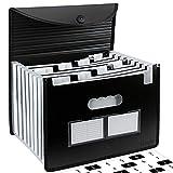 Uquelic Tecla de Piano Clasificadores Carpetas de Acordeón 24 Bolsillos Expandible Portátil Plástico Documentos de Tamaño A4 Organizador con Tapa y Tarjeta de Presentación