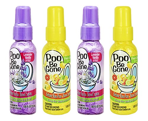 Set of 4 Stinky Bowl Spray 1.85oz - Before You Go Toilet Bathroom Deodorizer - Features Fresh Citrus Scent and Lavender Scent!
