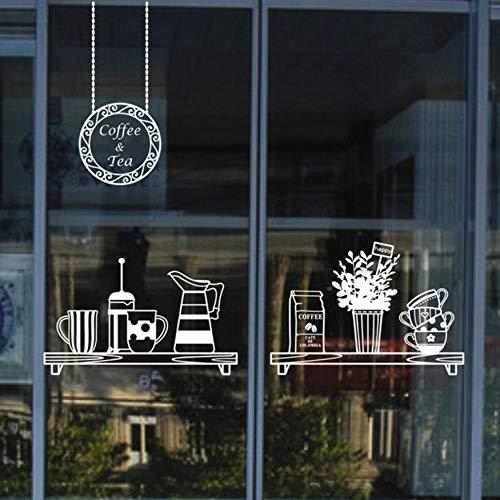 Olivialulu Melk Thee Koffie Shop Raamstickers Koffie Ijs Brood Taart Keuken Muurstickers DIY Home Decoratie Mural Decoratie X76 57 * 94Cm Aanpasbaar