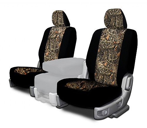 CarsCover Custom Fit 2017-2018 Dodge Ram 1500 2500 3500 Pickup Truck Wetsuit Neoprene Car Front Seat Covers Camo and Black Sides Driver & Passenger Cover Real Maple Forest Tree Leaf Camouflage Covers