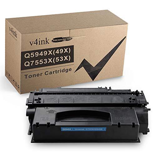 V4INK Compatible 49X 53X Toner Cartridge Replacement for HP 53X Q7553X 49X Q5949X for use in HP Laserjet P2015dn P2015 P2015d 1320 1320n 3390 3392 M2727nf P2014 P2010 Printer (Black,1 Pack)