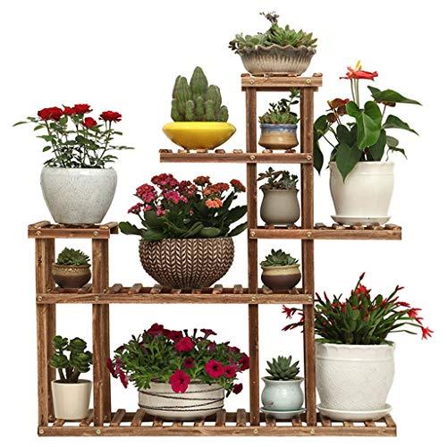 G-XDPGJJHJ Soporte De ExhibicióN De Flores De Plantas De Madera Estante De Almacenamiento De Madera Estante Interior JardíN Exterior Proceso De Horneado De Carbono Duradero