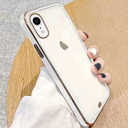 ROSEHUI Crystal Clear Kompatibel mit iPhone Xr Hülle Transparent Handyhülle Luxus Galvanisierte Rahmen [Vergilbungsfrei & Dünn] Weiche Silikon Durchsichtig Schutzhülle,Weiß