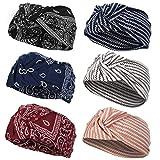 VBIGER 6 Stück Damen Stirnband Haarband Kopfband Elastische Sportliche Headband für Joggen Yoga Gym Fitness Training