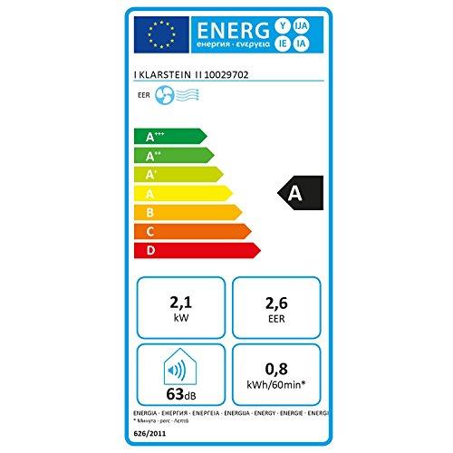 Klarstein New Breeze 7 - Condizionatore Portatile, 3-in-1: Raffrescatore, Deumidificatore, Ventilatore, 7.000 BTU/2,1 kW, Locale: 21-34 m², 4 Rotelle, Timer, Telecomando, Bianco