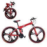 XIANGMIHU 26 in Folding Mountain Bike 21 Speed Folding Bikes for Adults Commuter Bikes for Men Women │Carbon Steel Frame Mountain Bike with Dual Disc Brakes│US in Stock (B)