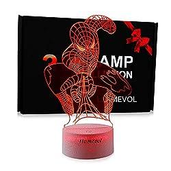 Spiderman Toys Kids Night Light Superhero Christmas Gift Birthday 3D Illusion Lamp for Kid Boy Web Shooter 7 Color
