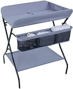 LNDDP Changing Table Baby for Newborn  Storage Folding Cross Leg Style Changing Station  Metal Frame