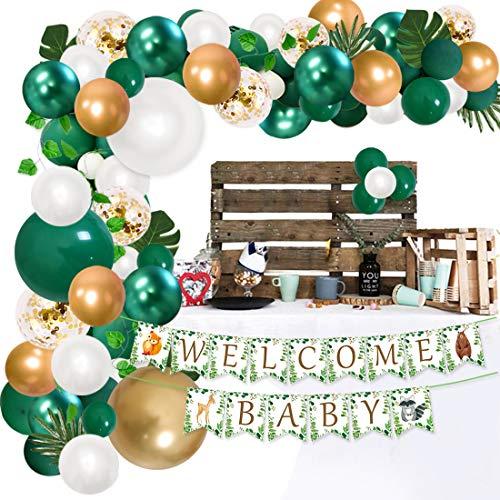 JOYMEMO Safari Baby Shower Decorations Kit de Guirnalda de Globos Verdes, Banner de Bienvenida para bebés, Suministros de Fiesta de la Selva para niño o niña
