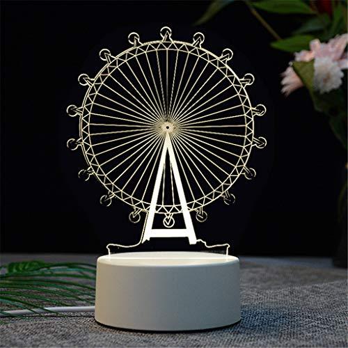 SADASD Lampe de table créative acrylique lumière créatrice de bande dessinée led lumière de nuit 3d, nouvelle grande roue
