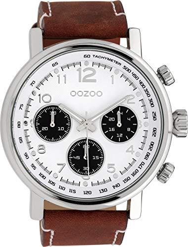 Oozoo Herrenuhr mit Lederband 48 MM Weiss/Rotbraun C10060
