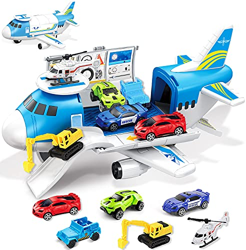 GUDEHOLO Airplane Toy, Transport Cargo Car Toy Play Set for 3 4 5 Year Old Boy and...