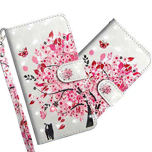 COTDINFOR LG K50 Hülle 3D-Effekt Painted cool Schutzhülle Flip Bookcase Handy Tasche Schale mit Magnet Standfunktion Etui für LG K50 Flower Tree Cat YX.