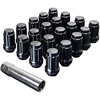 UPGR8 S-Series 20 Pieces Steel Closed Ended Wheel Lug Nuts with Key (M12 X 1.5MM, Black)