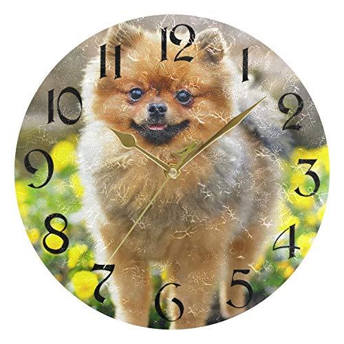 Reloj de pared redondo de 10 pulgadas, sin tictac, puntero dorado silencioso, funciona con pilas, para oficina, cocina, dormitorio, decoración del hogar, perro Spitz alemán que se queda en piedra