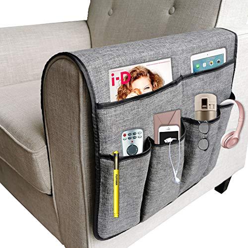 NGLVKE - Grande organizer per divano, porta telecomando TV, antiscivolo, con 6 tasche per riviste, libri, cellulare, iPad, Lino PVC, Grigio, 19.7*35 inch