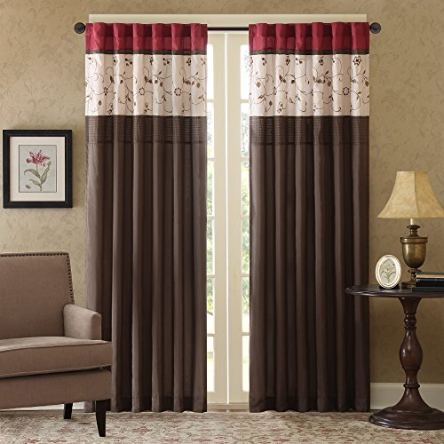 Madison Park Serene Embroidered Darkening Rod Pocket/Back Tab Treatment Curtain Set Window Panel Blackout Drapes for Bedroom Living Room and Dorm, 50x84, Red