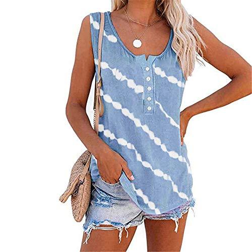 DUTISON Womens Tie Dye Tank Tops Cute Sleeveless U-Neck Shirt Summer Casual Workout Tees Loose Cami Light Blue