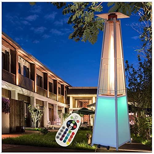 Calentador De Patio De Propano Al Aire Libre Piramidal De 48000 BTU Con Luces LED, Tubo Vidrio, Llama, Ruedas, Encendido Rápido Por Pulso, Apagado Automático, Calentador Exterior, Estufa