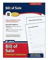 Adams BillのSaleフォームパック、Includes 2モーターVehicle and 2一般Billsの販売、8.5X 11インチ、ホワイト( alfp111)