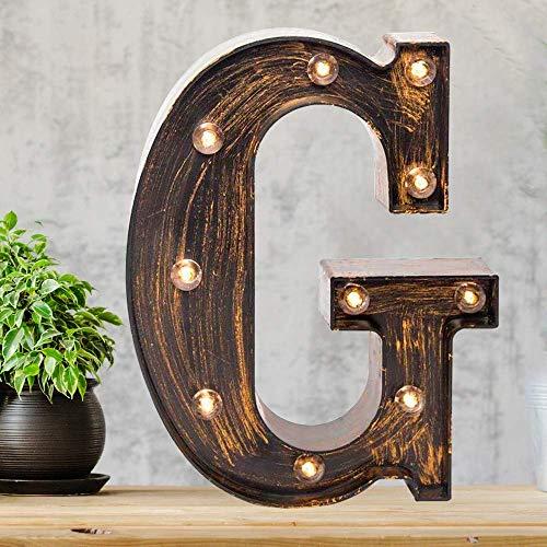 Vimlits - Segnalibro a LED nero dorato, stile industriale, illuminato, con lettere dell'alfabeto illuminate, per caffè, matrimoni, feste di compleanno, Natale, casa, bar, iniziali
