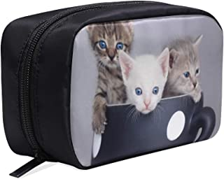 Cute Kitten Sitting In Large Cup Portable Travel Makeup Cosmetic Bags Organizer Multifunction Case Small Toiletry Bags For Women And Men Brushes Case