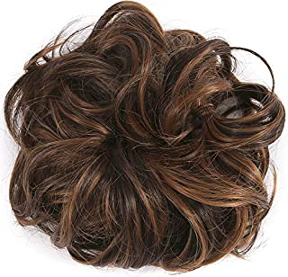 LHFLIVE Messy Hair Bun Extensions Hair Scrunchies Donut Chignons Hairpiece Curly Wavy Updo Hair Pieces