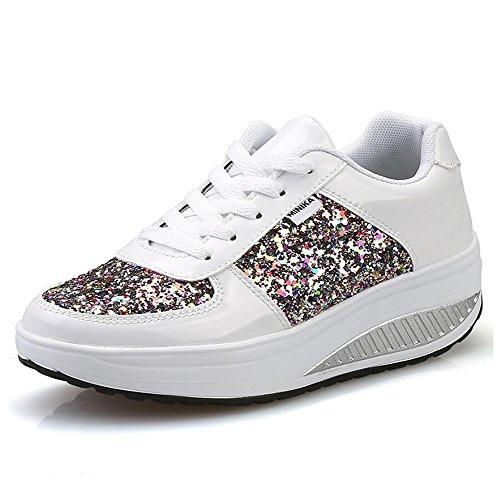 QZBAOSHU Damen Abnehmen Walkingschuhe Turnschuhe Fitness Keile Plattform Schuhe Sneakers(3 1Weiß,38)