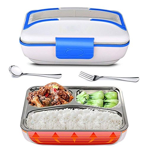 YOUDirect Electric Lunch Box, 110V Portable Bento Lunch Heater Heavy Duty Food Warmer with Removable 304 Stainless Steel Container for Home Office School, Spoon Fork Included (Blue)